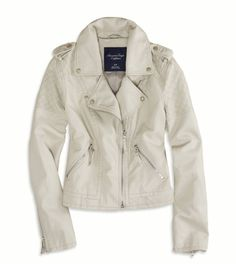 AE Vegan Leather Moto Jacket – Grey | American Eagle Outfitters #AEOStyle