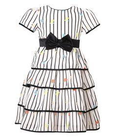 Black & White Floral Stripe Tiered Dress - Girls