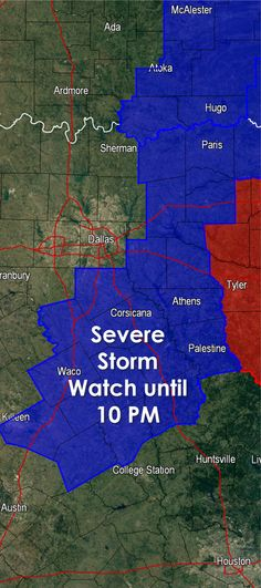 The Storm Prediction Center has issued a Severe Thunderstorm Watch until 10 PM for Northeast Texas southwest into Central Texas. The watch does not include the D/FW Metroplex as storms are expected to fire up just south and east of D/FW within a few hours. The main forcing mechanism for thunderstorm initiation will be a cold front that is now pushing through D/FW. Behind the front winds will become northwesterly. The primary threat with the strongest storms will be large hail