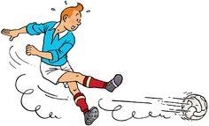 1946 ❘ Tintin footbaleur – Tintin football player ☼ Dessin réalisé pour la rubrique sportive du Journal Tintin (Belgique) à partir du n°13 du 19 décembre 1946. #tintin #herge