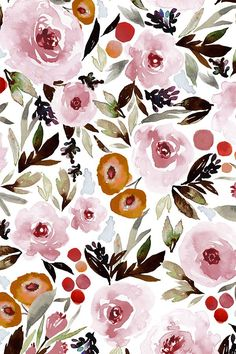 LIMITED EDITION BENTLEE MAUVE by indybloomdesign - Mauve, olive, pink, and red handpainted watercolor flowers on fabric, wallpaper, and gift wrap. Beautiful floral pattern in a painterly style.