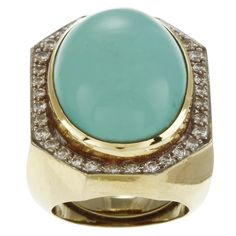 18k Gold Turquoise and 1ct TDW Diamond Cocktail Art Deco Estate Ring (G-H, SI1-SI2) | Overstock™ Shopping - Top Rated Estate and Vintage Rings