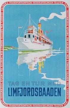 Før i tiden var det muligt, at sejle rundt i Limfjorden med fast rutebåd. Plakat af Otto Nielsen fra omkring midten af 1940'erne.