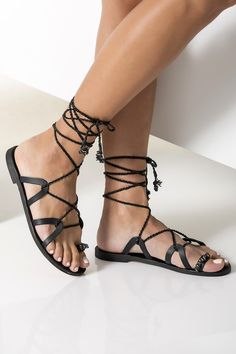 Luxurious black lace up sandals handcrafted from fine quality leather. They have decorated toe ring strap with mother of pearls in gray shades and feature wraparound hand-braided straps. Bridal Sandals, Boho Sandals, Beaded Sandals, Ankle Wrap Sandals, Embellished Sandals, Lace Up Sandals, Gladiator Sandals, Gladiators, Women Sandals