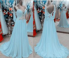 Light Sky Blue Prom Dresses,Chiffon Prom Gowns,Backless Prom Dresses,2016 Party Dresses,Long Prom Go on Luulla