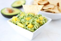 Mango Guacamole on twopeasandtheirpod.com Only takes a few minutes to make and is SO good!