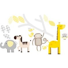 Grey And Yellow Branch And Animals Wall Stickers - children's room accessories