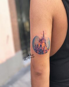 What does disney castle tattoo mean? We have disney castle tattoo ideas, designs, symbolism and we explain the meaning behind the tattoo. Dream Tattoos, Future Tattoos, Body Art Tattoos, Sleeve Tattoos, Tattoo Sleeves, Tatoos, Small Tattoos For Guys, Small Wrist Tattoos, Disney Castle Tattoo