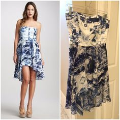 """NWT French Connection blue and white hi-low dress French Connection NWT """"Woodblock Wonder"""" tie dye dress in blue and white. Straight skirt with a flowy outer skirt. Length from underarm side is 24"""" at the shortest length, 34"""" at the longest. Hi-low hemline. Strapless, size 6. Linen/cotton with a polyester skirt. French Connection Dresses Strapless"""