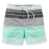 Cool colorblock engineered stripes are a great style for his pool days. Pair these trunks with a matching rash guard to complete his look.<br>