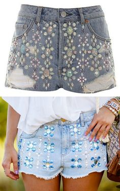 DIY Sequin Beaded Topshop Shorts Knockoff Tutorial.  Bottom Photo: DIY and small tutorial at Crimenes de la Moda here. *I know some of my friends dislike gluing things onto fabric - but wouldn't this be faster and still durable if you glued the sequins and beads on then hand washed the shorts?