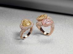 Crivelli Galleria: anelli in oro rosa diamanti bianchi, gialli e rosa