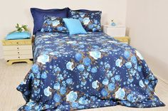 Navy Blue Floral Duvet Cover Set in Full Queen by RoseHomeDecor