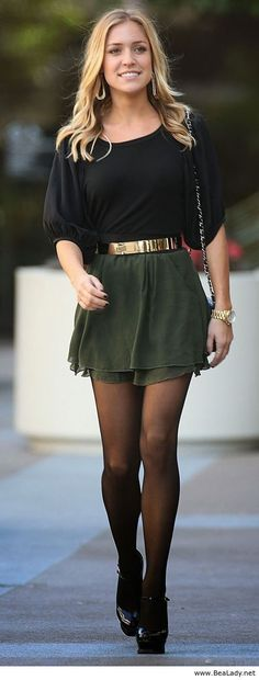 Green skirt with black top
