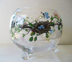 Hand Painted Pansies Hurricane Vase Light On Etsy 163 19 59 Glass Painting Ideas Pinterest