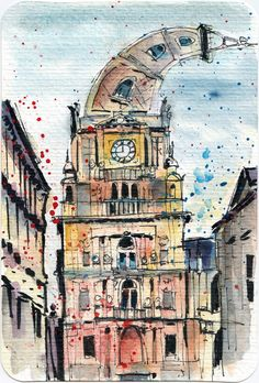 Watercolour postcard - Halifax Town Hall UK by Sophie Peanut Watercolor Postcard, Pen And Watercolor, Sketching Tips, Urban Sketching, Drawing Sketches, Drawings, Sketches Of People, Town Hall, Artwork Prints