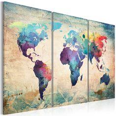 Quadro 120x80 cm - 3 Parti - Quadro su tela - Stampa in qualita fotografica - mappa mondo 020113-47 120x80 cm B&D XXL: Amazon.it: Casa e cucina