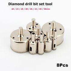 8 unids/set herramientas de Diamante sierra de perforación conjunto de taza de cerámica de cristal de mármol broca 10-50mm