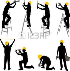 construction workers silhouettes vector Stock Vector