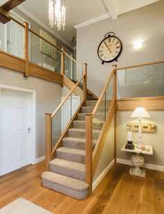 Glass Balustrade with wooden posts – Neville Johnson Staircases Wooden Staircase Railing, Oak Handrail, Banisters, Staircase Design, Banister Ideas, Staircase Ideas, Timber Slats, Stair Walls, Glass Stairs