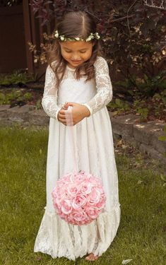 Wholesale Flower Girls' Dresses - Buy 2014 Vintage Princess A Line Lace Flower Girl Dresses Sheer Jewel Neck Long Sleeves Cute Floor Length Back Bow Cheap Hot Sale, $88.47 | DHgate