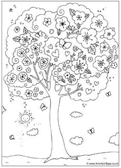 A Nice Blossoming Tree Coloring Page - Free Coloring Pages Online Spring Coloring Pages, Tree Coloring Page, Coloring Book Pages, Printable Coloring Pages, Free Coloring, Coloring Pages For Kids, Coloring Sheets, Spring Tree, Tree Patterns