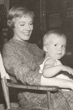 Julie Andrews and daughter Emma on the set of The Sound of Music