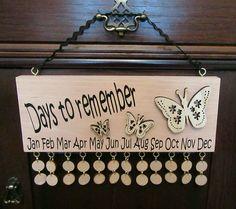 BEECH WOOD Family Birthday Board Reminder Calendar Plaque. Wooden OOAK xmas gift