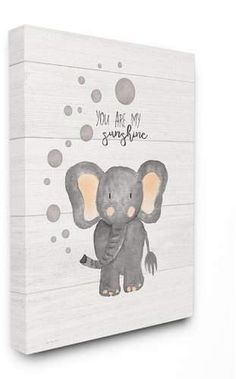Stupell Industries You Are My Sunshine Elephant Canvas Wall Art, 30 x 40 Elephant Canvas Art, Canvas Wall Art, Nursery Canvas Art, Elephant Nursery Art, Elephant Paintings, Elephant Crafts, Owl Canvas Paintings, Baby Room Paintings, Baby Painting