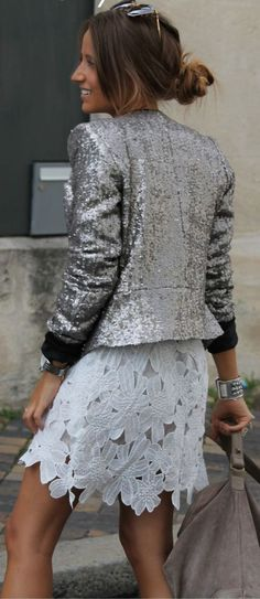Silver sequin + summer lace