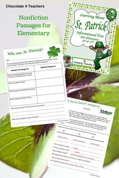 "The history of St. Patrick especially created for elementary students. Nonfiction passages, charts, comprehension questions... everything you need for a fun ""just print and teach"" lesson!"