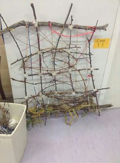 "Weaving project at Explorers Early Learning ("",) Fine Motor Skills Development, Physical Development, Outdoor Classroom, Outdoor School, Natural Playground, Playground Ideas, Outdoor Nursery, Home Daycare, Daycare Rooms"