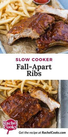 Try slow cooker ribs, so tender and juicy, with loads of flavor from a homemade dry rub and lots of barbecue sauce. Fix 'em and forget 'em for up to ten hours. Slow Cooker Ribs, Large Slow Cooker, Meat Recipes, Crockpot Recipes, Cooking Recipes, Baby Back Pork Ribs, Salad With Sweet Potato, Vegetarian Dinners, Delicious Dinner Recipes