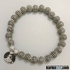 30d6bfada WISDOM: Pave Buddha Charm ॐ Beaded Bracelets Chakra Yoga stretch Jewelry  Meditation Mindfulness Mala
