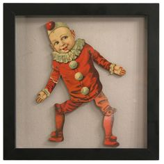 Articulated Clown Boy Puppet in Shadow Box | From a unique collection of antique and modern carnival art at http://www.1stdibs.com/furniture/folk-art/carnival-art/