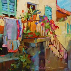 """""""The Art of Laundry"""" 8"""" x 8"""" Oil Painting by Dreama Tolle Perry"""