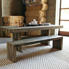 Dining Sets With Bench bolt solid wood & metal dining table … | pinteres…