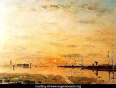 Le Havre, Sunset at Low Tide - Eugène Boudin - www.eugeneboudin.org