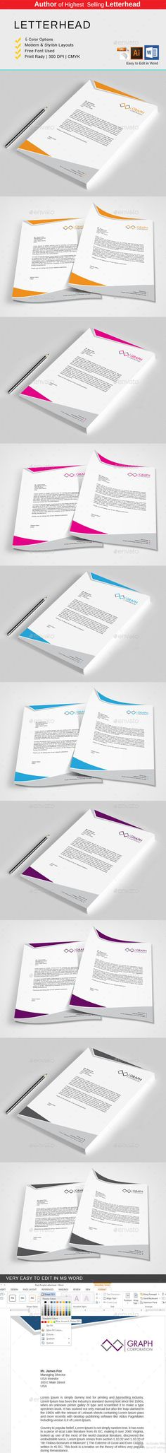 Letterhead Design Template PSD, Vector EPS, AI Illustrator, MS - company letterhead word template