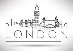 Vector Art : London City Skyline Silhouette Typographic Design