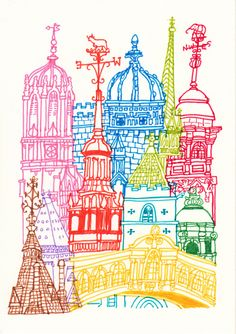 Oxford Towers Art Print by cheism - X-Small City Drawing, Painting & Drawing, Mandala, Illustrations, Illustration Art, Art Sketches, Art Drawings, Building Art, A Level Art
