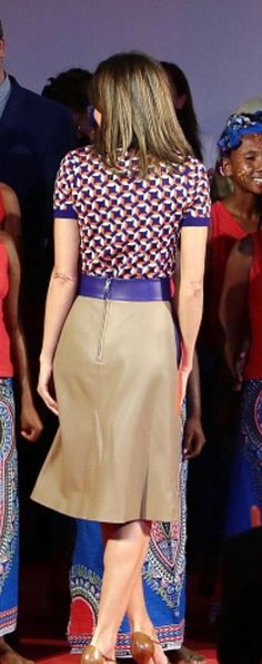 Queen Letizia's geometrical style seen from the back.