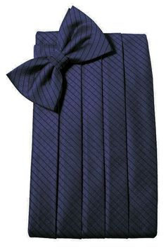 Royal Blue Diamond Grid Pattern Cummerbund Set