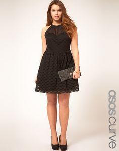 ASOS Curve Skater Dress In Spot Lace • asos.com