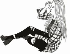black and white sketches of girls - Google Search