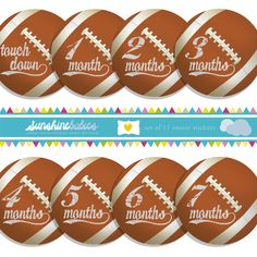Monthly Baby Onesie Stickers for Boys - Vintage Football by SunshineBabiesCo, $9.99  #onesiestickers #football
