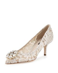 DOLCE & GABBANA Jewel-Embellished Lace Pump, Ghiaccio. #dolcegabbana #shoes #