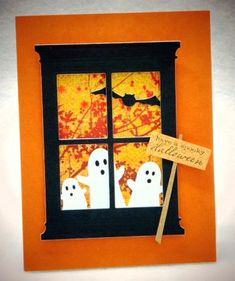 luv, luv this card's use of the window die in black with three ghosts outside looking in....