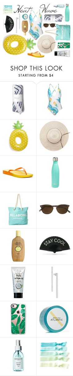 """Heat Waves"" by calex621 ❤ liked on Polyvore featuring WithChic, BigMouth, Rider, S'well, Billabong, Garrett Leight, Sun Bum, Khu Khu, too cool for school and Swarovski"