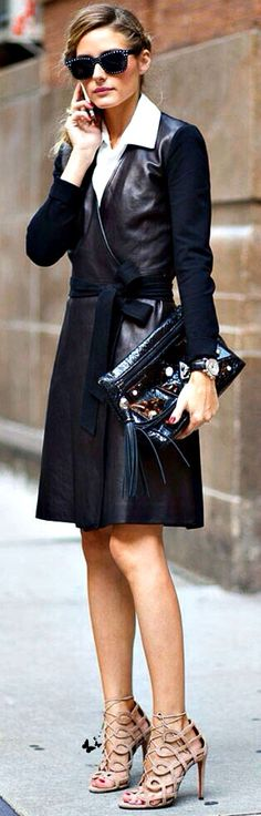 Street fashion style chic...... Leather DVF wrap dress Olivia Palermo Street Style.